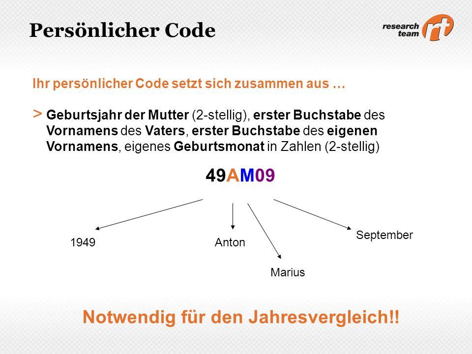 Persönlicher Code Ihr persönlicher Code setzt sich zusammen aus … > Geburtsjahr der Mutter (2-stellig), erster Buchstabe des Vornamens des Vaters, ers