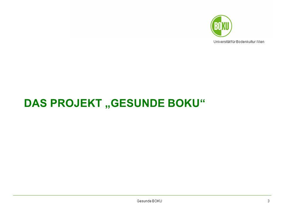 Universität für Bodenkultur Wien Gesunde BOKU Gesunde BOKU Ausgangssituation und Ziele Ausgangssituation Die BOKU nimmt durch das Projekt ihre Soziale Verantwortung gegenüber den rd.
