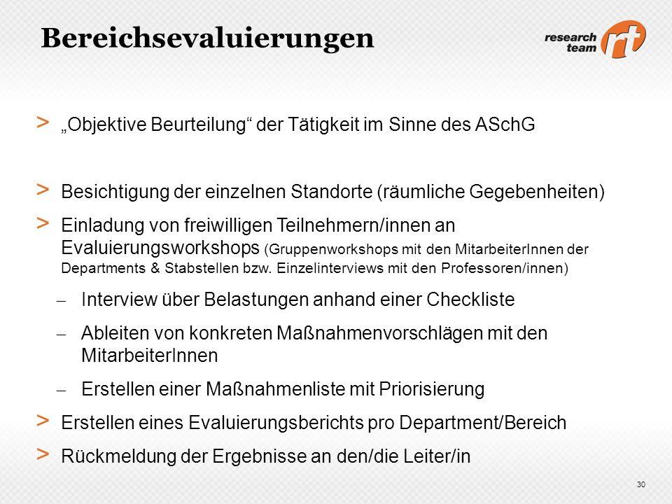 Bereichsevaluierungen > Objektive Beurteilung der Tätigkeit im Sinne des ASchG > Besichtigung der einzelnen Standorte (räumliche Gegebenheiten) > Einl