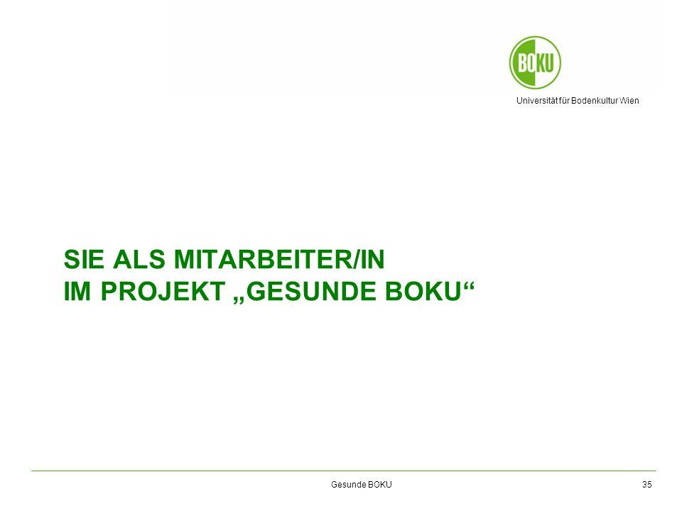 Universität für Bodenkultur Wien Gesunde BOKU SIE ALS MITARBEITER/IN IM PROJEKT GESUNDE BOKU 35