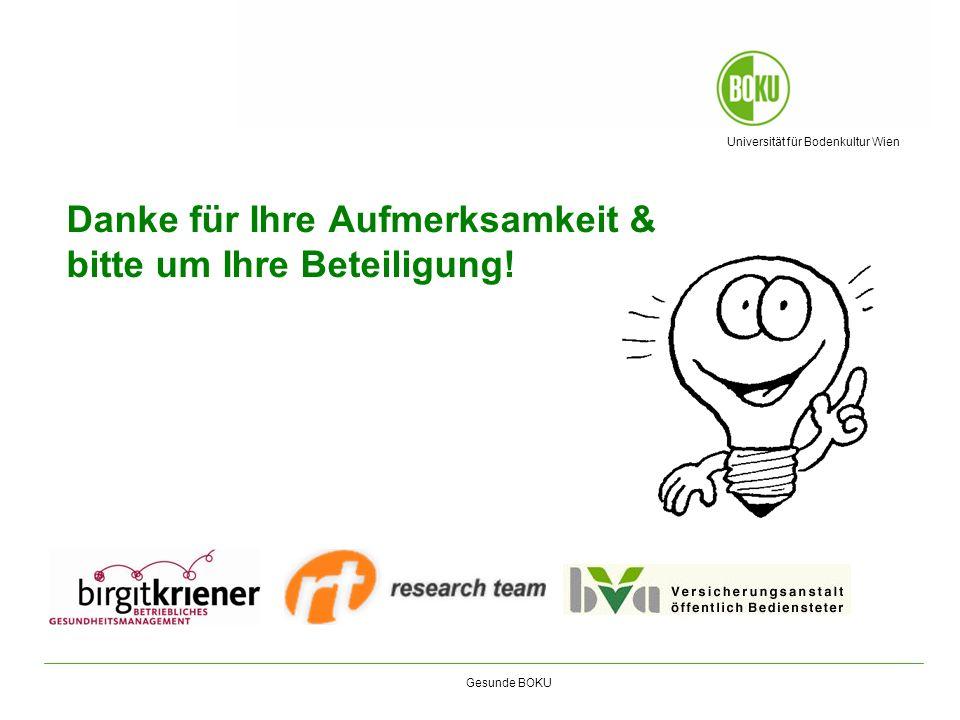 Universität für Bodenkultur Wien Gesunde BOKU Danke für Ihre Aufmerksamkeit & bitte um Ihre Beteiligung!