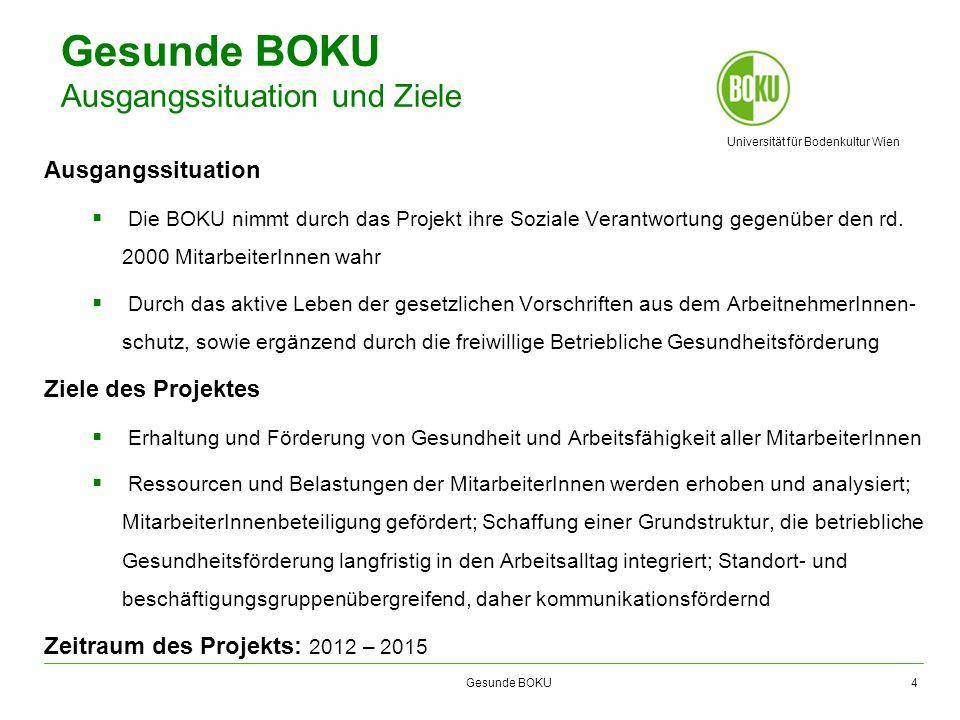 Universität für Bodenkultur Wien Gesunde BOKU Gesunde BOKU Ausgangssituation und Ziele Ausgangssituation Die BOKU nimmt durch das Projekt ihre Soziale