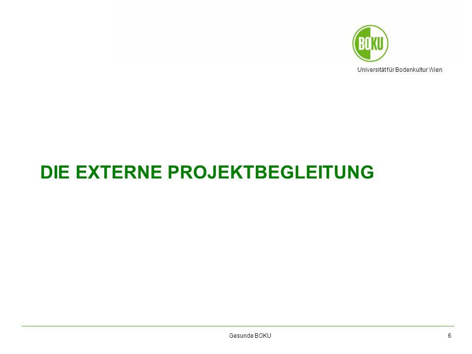 Gesunde BOKU – Birgit Kriener Seit 1999 Beratung, Begleitung und Evaluierung von Projekten zum Thema Betriebliche Gesundheitsförderung (BGF) und Alternsgerechtes Arbeiten Langjährige Erfahrung in der Beratung von Organisationen bei der Projektplanung und –durchführung, z.B.