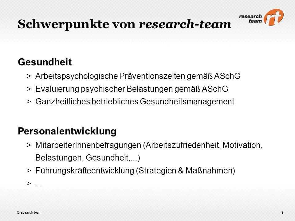 Schwerpunkte von research-team Gesundheit >Arbeitspsychologische Präventionszeiten gemäß ASchG >Evaluierung psychischer Belastungen gemäß ASchG >Ganzh