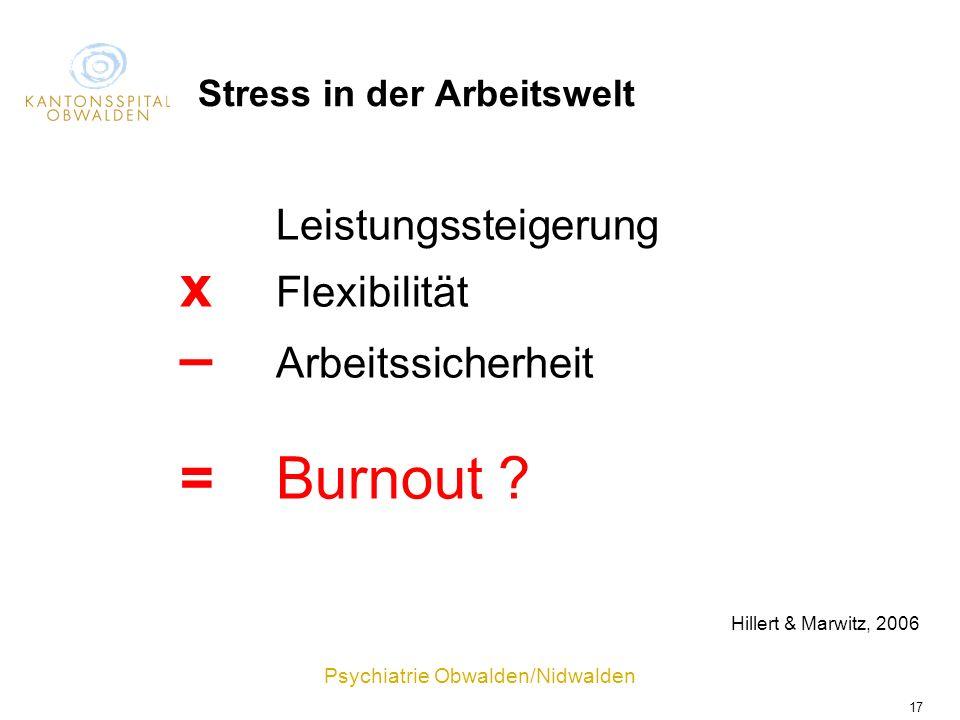 Psychiatrie Obwalden/Nidwalden 17 Leistungssteigerung x Flexibilität – Arbeitssicherheit =Burnout ? Stress in der Arbeitswelt Hillert & Marwitz, 2006