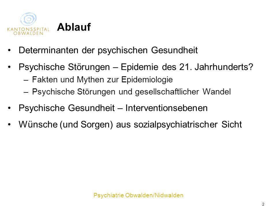 Psychiatrie Obwalden/Nidwalden 2 Ablauf Determinanten der psychischen Gesundheit Psychische Störungen – Epidemie des 21. Jahrhunderts? –Fakten und Myt