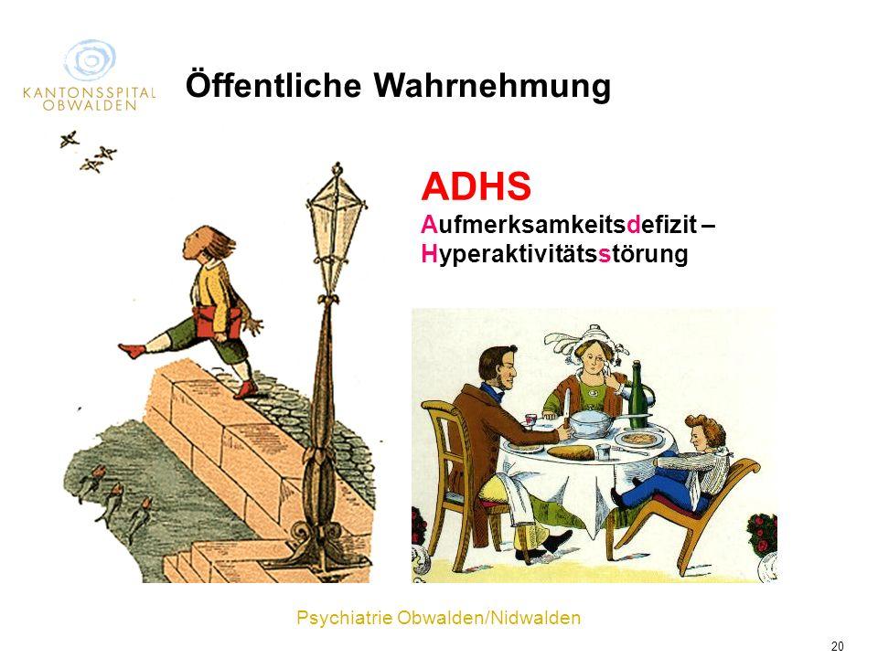Psychiatrie Obwalden/Nidwalden 20 ADHS Aufmerksamkeitsdefizit – Hyperaktivitätsstörung Öffentliche Wahrnehmung