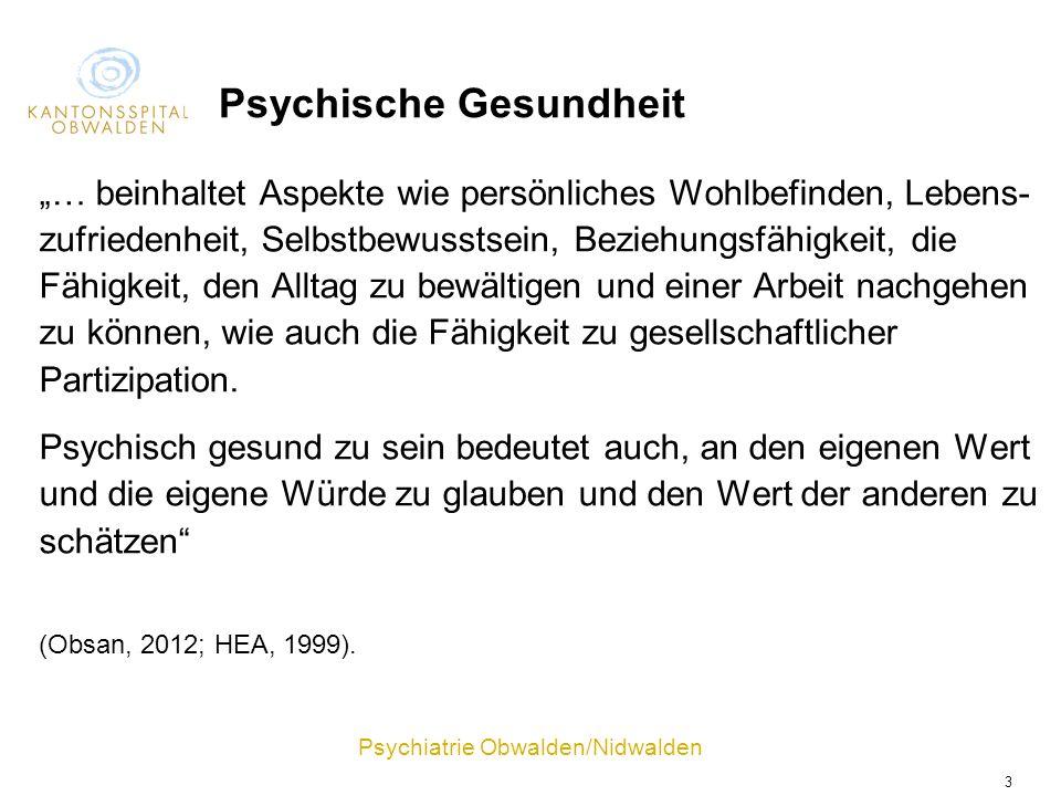 Psychiatrie Obwalden/Nidwalden 3 Psychische Gesundheit … beinhaltet Aspekte wie persönliches Wohlbefinden, Lebens- zufriedenheit, Selbstbewusstsein, B