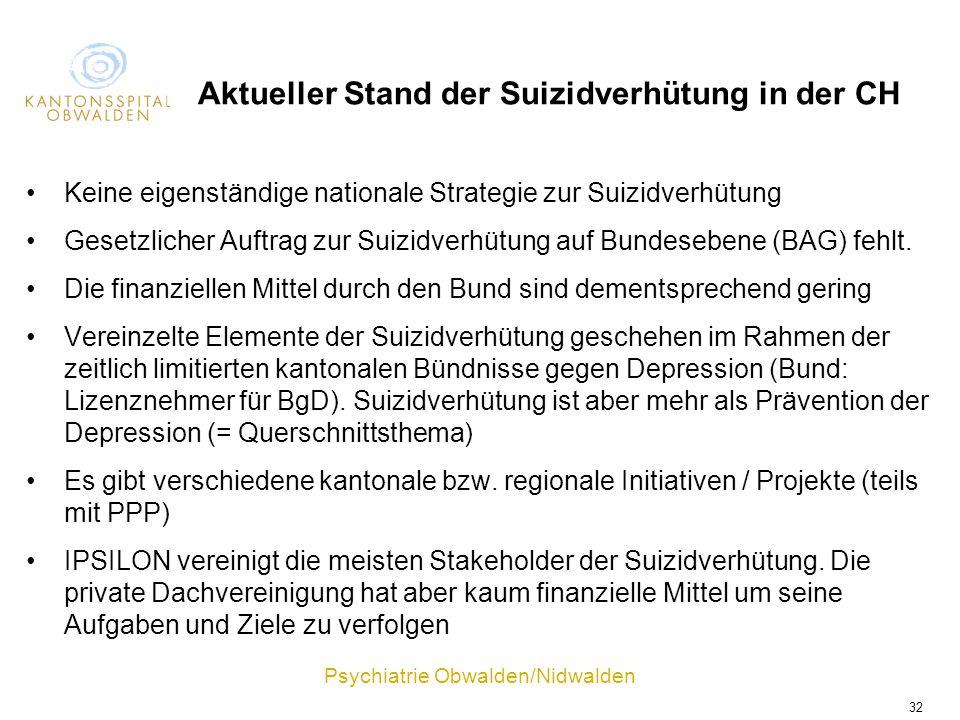 Psychiatrie Obwalden/Nidwalden 32 Aktueller Stand der Suizidverhütung in der CH Keine eigenständige nationale Strategie zur Suizidverhütung Gesetzlich