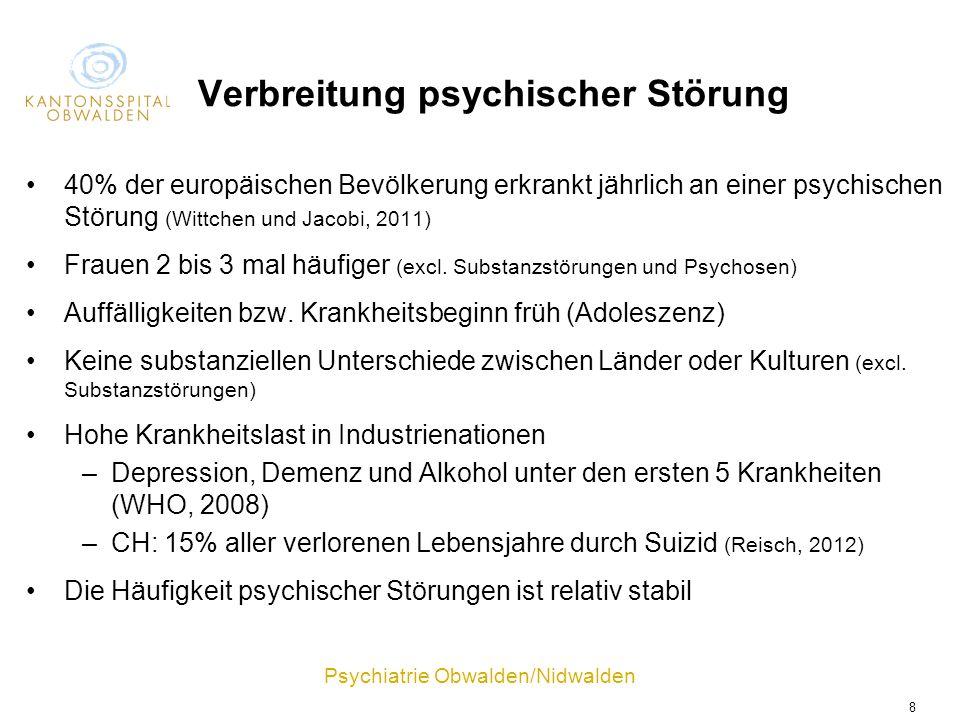 Psychiatrie Obwalden/Nidwalden 8 Verbreitung psychischer Störung 40% der europäischen Bevölkerung erkrankt jährlich an einer psychischen Störung (Witt