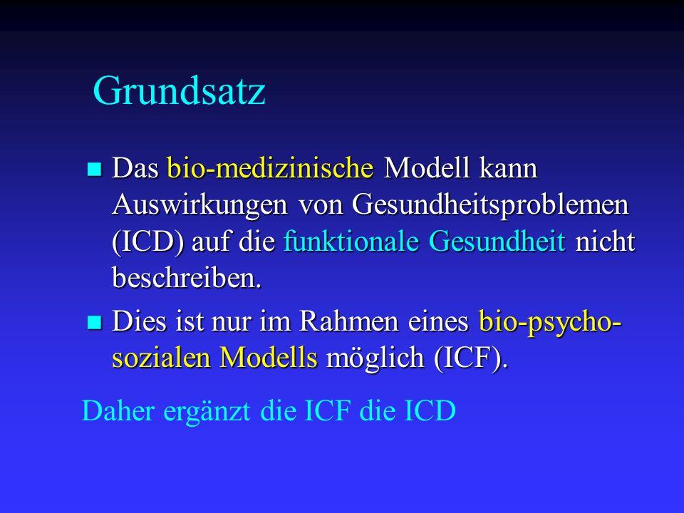 Das bio-medizinische Modell kann Auswirkungen von Gesundheitsproblemen (ICD) auf die funktionale Gesundheit nicht beschreiben. Das bio-medizinische Mo