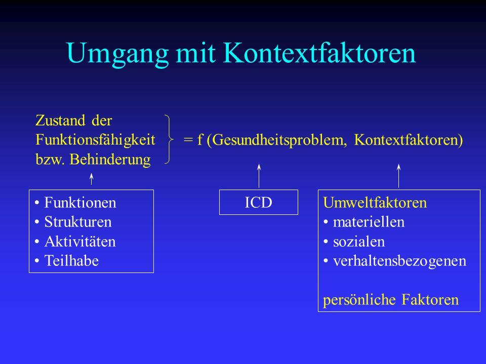 Zustand der Funktionsfähigkeit bzw. Behinderung = f (Gesundheitsproblem, Kontextfaktoren) Funktionen Strukturen Aktivitäten Teilhabe ICDUmweltfaktoren