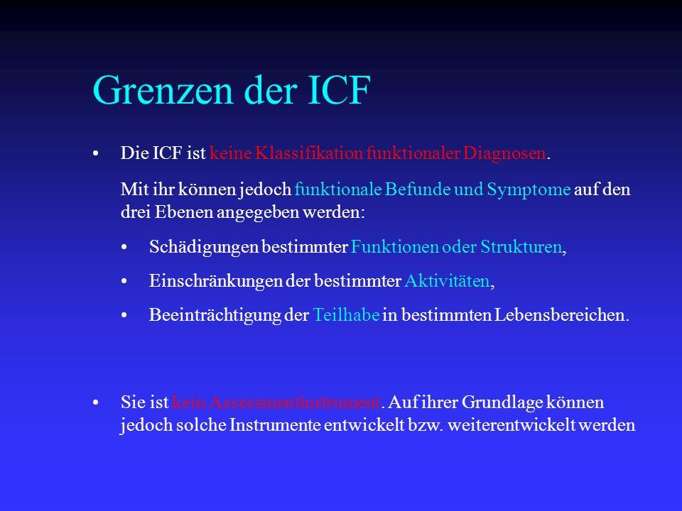 Grenzen der ICF Die ICF ist keine Klassifikation funktionaler Diagnosen. Sie ist kein Assessmentinstrument. Auf ihrer Grundlage können jedoch solche I