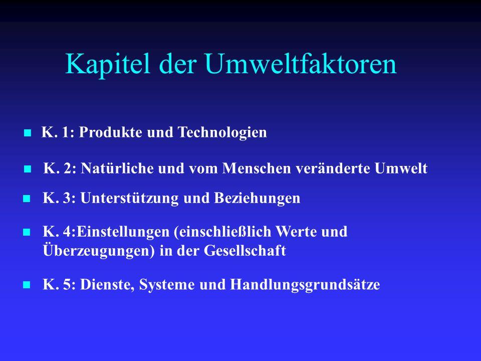 K. 1: Produkte und Technologien Kapitel der Umweltfaktoren K. 2: Natürliche und vom Menschen veränderte Umwelt K. 3: Unterstützung und Beziehungen K.