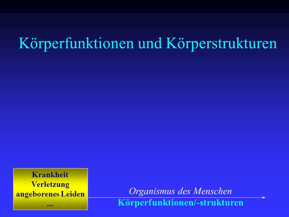 Organismus des Menschen Körperfunktionen/-strukturen Krankheit Verletzung angeborenes Leiden... Körperfunktionen und Körperstrukturen
