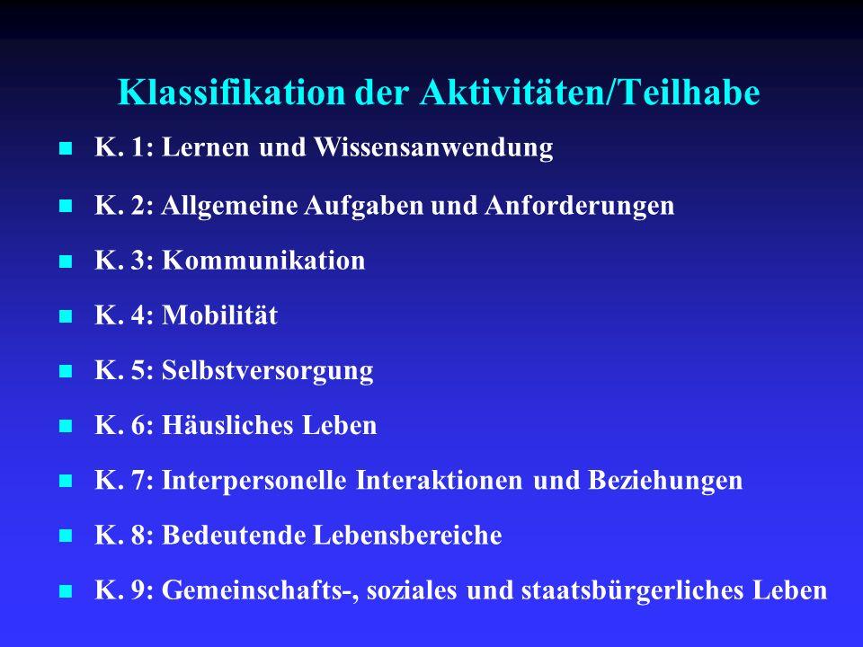 Klassifikation der Aktivitäten/Teilhabe K. 1: Lernen und Wissensanwendung K. 2: Allgemeine Aufgaben und Anforderungen K. 3: Kommunikation K. 4: Mobili