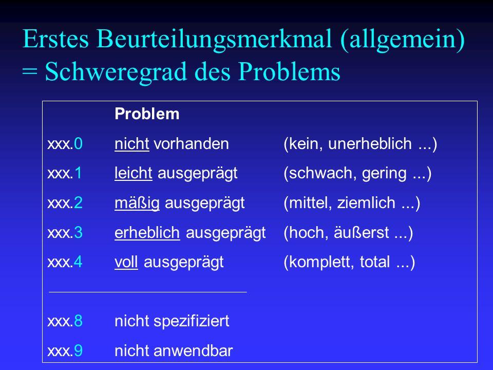 Problem xxx.0nicht vorhanden(kein, unerheblich...) xxx.1leicht ausgeprägt(schwach, gering...) xxx.2mäßig ausgeprägt(mittel, ziemlich...) xxx.3erheblic
