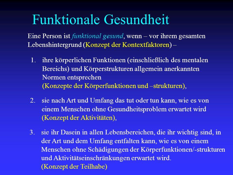 Eine Person ist funktional gesund, wenn – vor ihrem gesamten Lebenshintergrund (Konzept der Kontextfaktoren) – 1.ihre körperlichen Funktionen (einschl