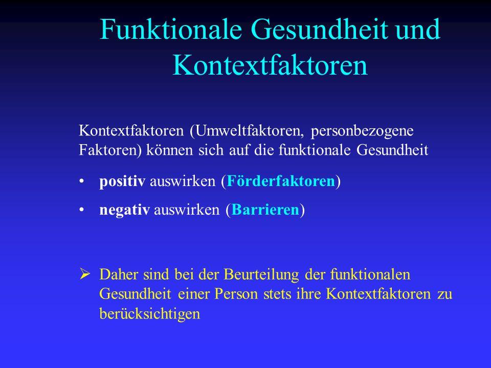 Funktionale Gesundheit und Kontextfaktoren Kontextfaktoren (Umweltfaktoren, personbezogene Faktoren) können sich auf die funktionale Gesundheit positi
