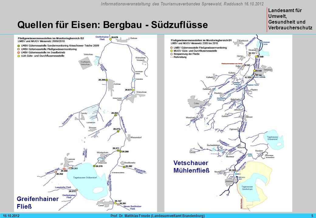 Informationsveranstaltung des Tourismusverbandes Spreewald, Raddusch 16.10.2012 Landesamt für Umwelt, Gesundheit und Verbraucherschutz Prof.