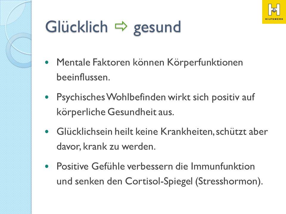 Glücklich gesund Mentale Faktoren können Körperfunktionen beeinflussen. Psychisches Wohlbefinden wirkt sich positiv auf körperliche Gesundheit aus. Gl