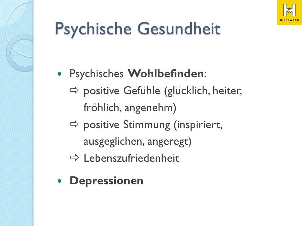 Psychisches Wohlbefinden: positive Gefühle (glücklich, heiter, fröhlich, angenehm) positive Stimmung (inspiriert, ausgeglichen,angeregt) Lebenszufried