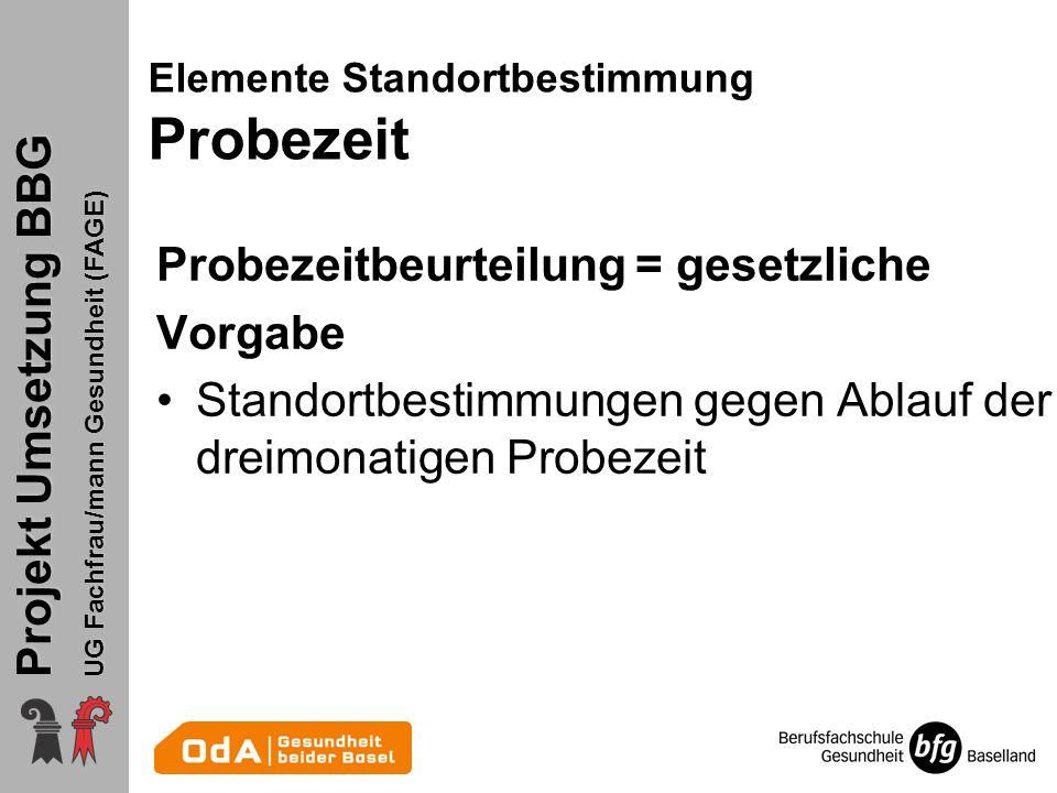 Projekt Umsetzung BBG UG Fachfrau/mann Gesundheit (FAGE) Probezeitbeurteilung = gesetzliche Vorgabe Standortbestimmungen gegen Ablauf der dreimonatige