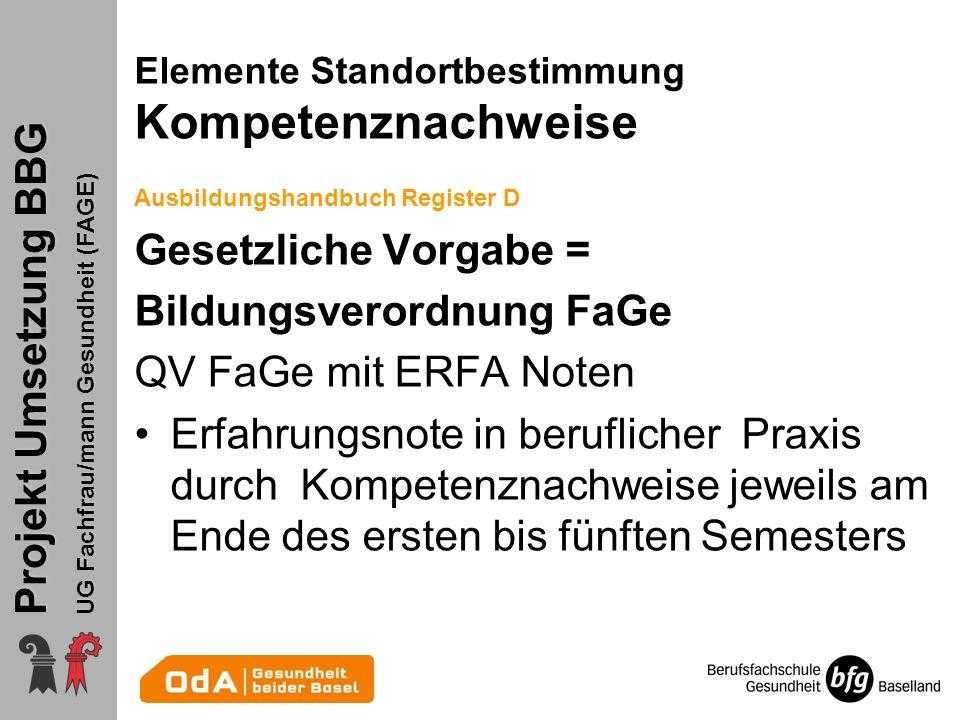 Projekt Umsetzung BBG UG Fachfrau/mann Gesundheit (FAGE) Ausbildungshandbuch Register D Gesetzliche Vorgabe = Bildungsverordnung FaGe QV FaGe mit ERFA