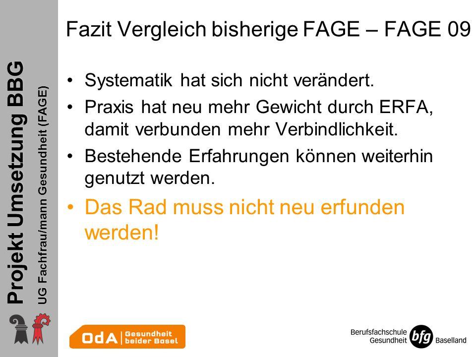 Projekt Umsetzung BBG UG Fachfrau/mann Gesundheit (FAGE) Fazit Vergleich bisherige FAGE – FAGE 09 Systematik hat sich nicht verändert. Praxis hat neu