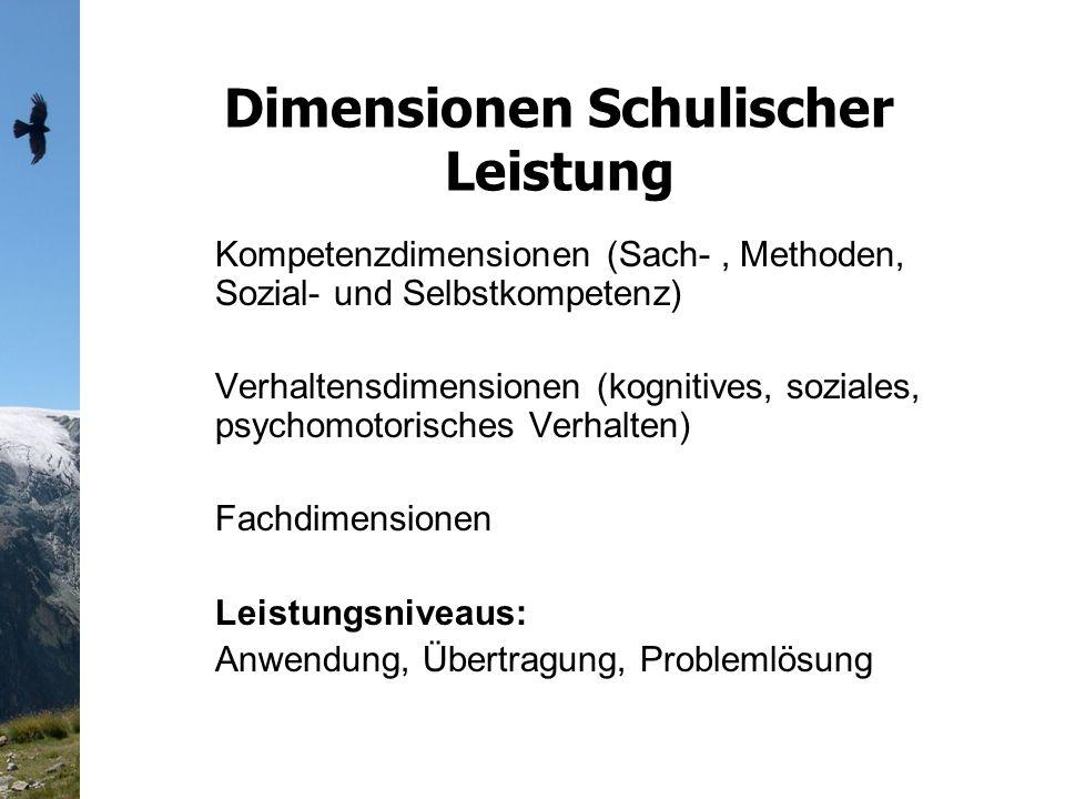 Dimensionen Schulischer Leistung Kompetenzdimensionen (Sach-, Methoden, Sozial- und Selbstkompetenz) Verhaltensdimensionen (kognitives, soziales, psychomotorisches Verhalten) Fachdimensionen Leistungsniveaus: Anwendung, Übertragung, Problemlösung