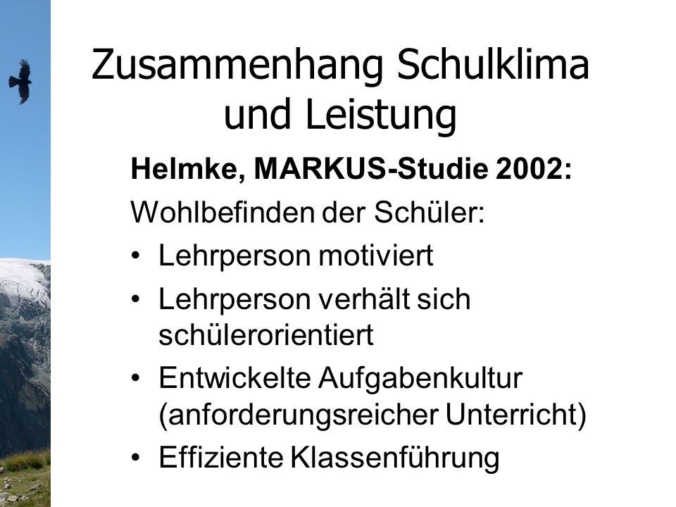 Zusammenhang Schulklima und Leistung Helmke, MARKUS-Studie 2002: Wohlbefinden der Schüler: Lehrperson motiviert Lehrperson verhält sich schülerorientiert Entwickelte Aufgabenkultur (anforderungsreicher Unterricht) Effiziente Klassenführung