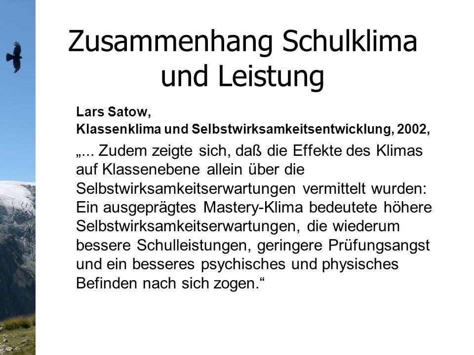 Zusammenhang Schulklima und Leistung Lars Satow, Klassenklima und Selbstwirksamkeitsentwicklung, 2002,...