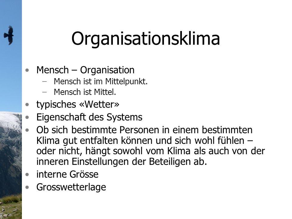 Organisationsklima Mensch – Organisation –Mensch ist im Mittelpunkt.
