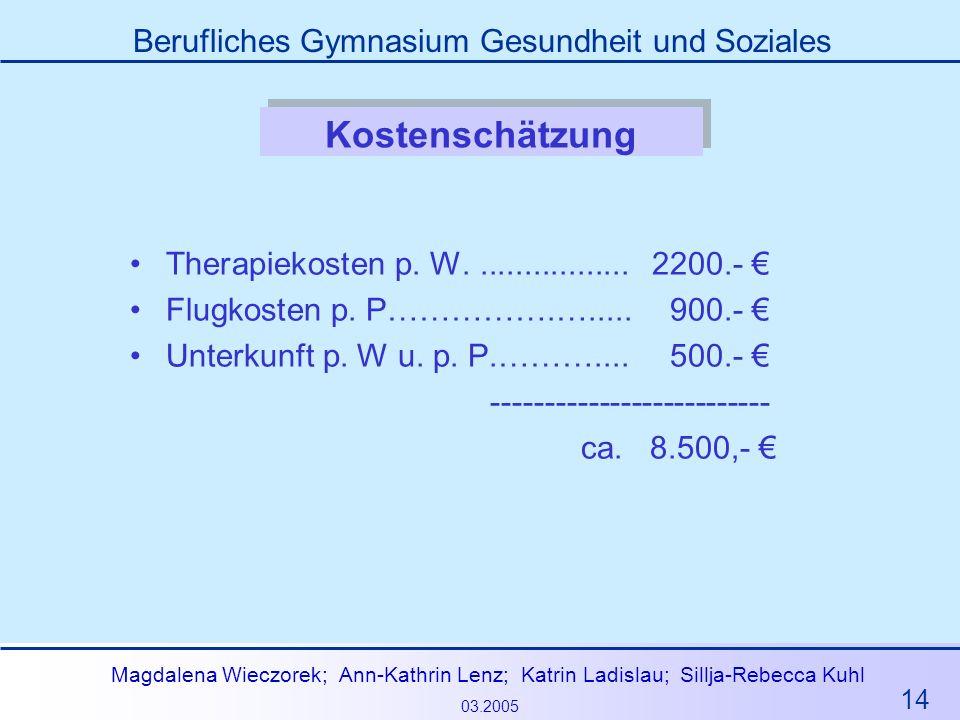 14 Magdalena Wieczorek; Ann-Kathrin Lenz; Katrin Ladislau; Sillja-Rebecca Kuhl 03.2005 Berufliches Gymnasium Gesundheit und Soziales Kostenschätzung T