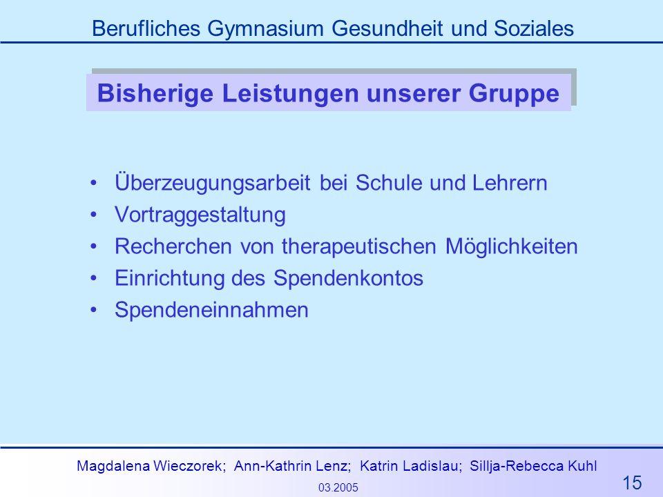 15 Magdalena Wieczorek; Ann-Kathrin Lenz; Katrin Ladislau; Sillja-Rebecca Kuhl 03.2005 Berufliches Gymnasium Gesundheit und Soziales Bisherige Leistun