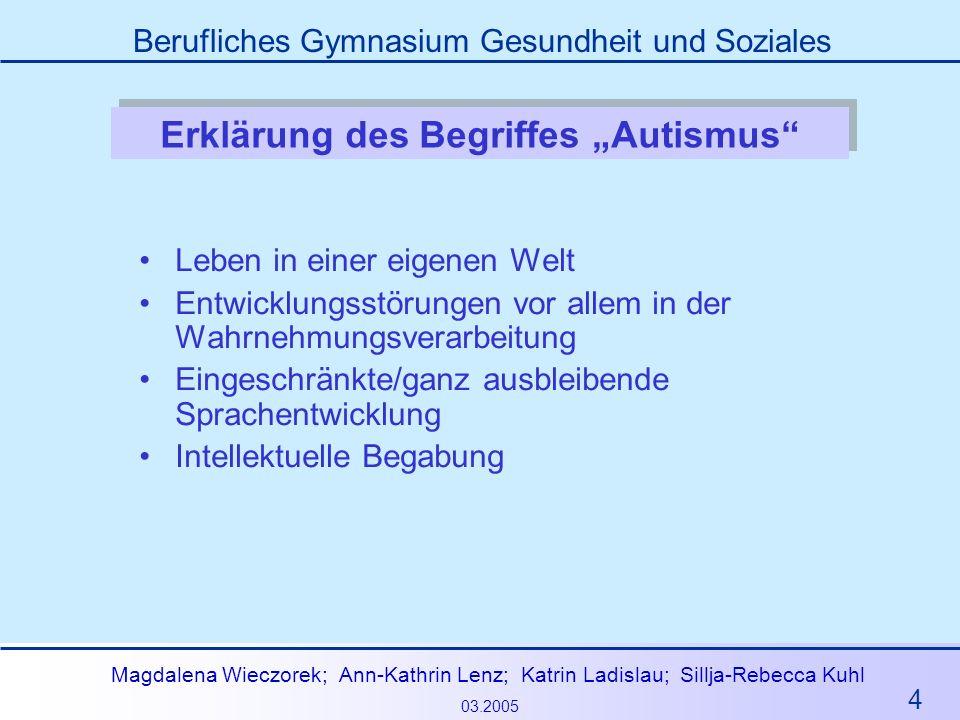 4 Magdalena Wieczorek; Ann-Kathrin Lenz; Katrin Ladislau; Sillja-Rebecca Kuhl 03.2005 Berufliches Gymnasium Gesundheit und Soziales Erklärung des Begr