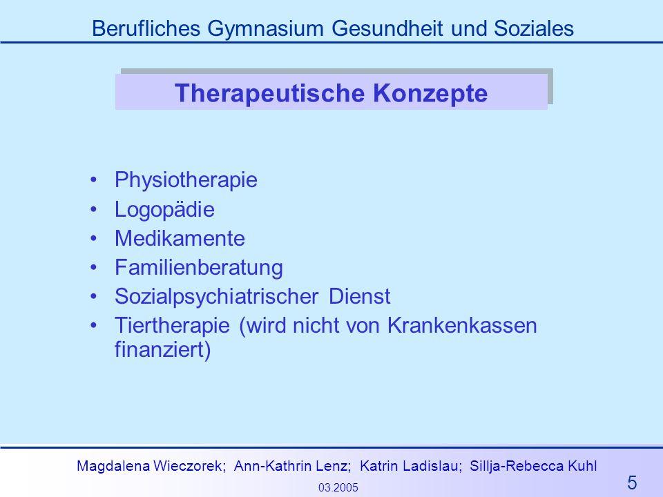 5 Magdalena Wieczorek; Ann-Kathrin Lenz; Katrin Ladislau; Sillja-Rebecca Kuhl 03.2005 Berufliches Gymnasium Gesundheit und Soziales Therapeutische Kon