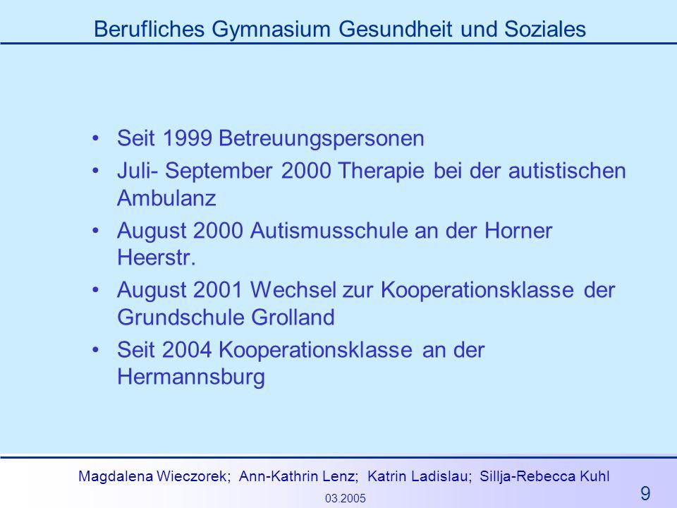 9 Magdalena Wieczorek; Ann-Kathrin Lenz; Katrin Ladislau; Sillja-Rebecca Kuhl 03.2005 Berufliches Gymnasium Gesundheit und Soziales Seit 1999 Betreuun