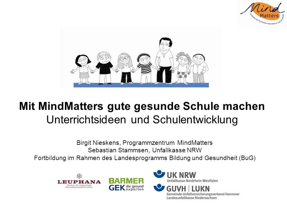 Agenda MindMatters – Einführung in das Programm Die gute gesunde Schule als Basis von MindMatters - Beispiel Unterrichtsheft Mit Stress umgehen – im Gleichgewicht bleiben Übung Coping MindMatters und Schulentwicklung: Zwei Beispiele