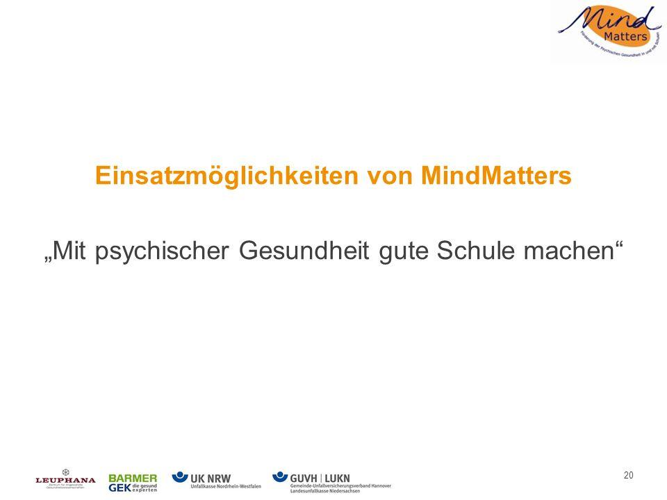Einsatzmöglichkeiten von MindMatters Mit psychischer Gesundheit gute Schule machen 20