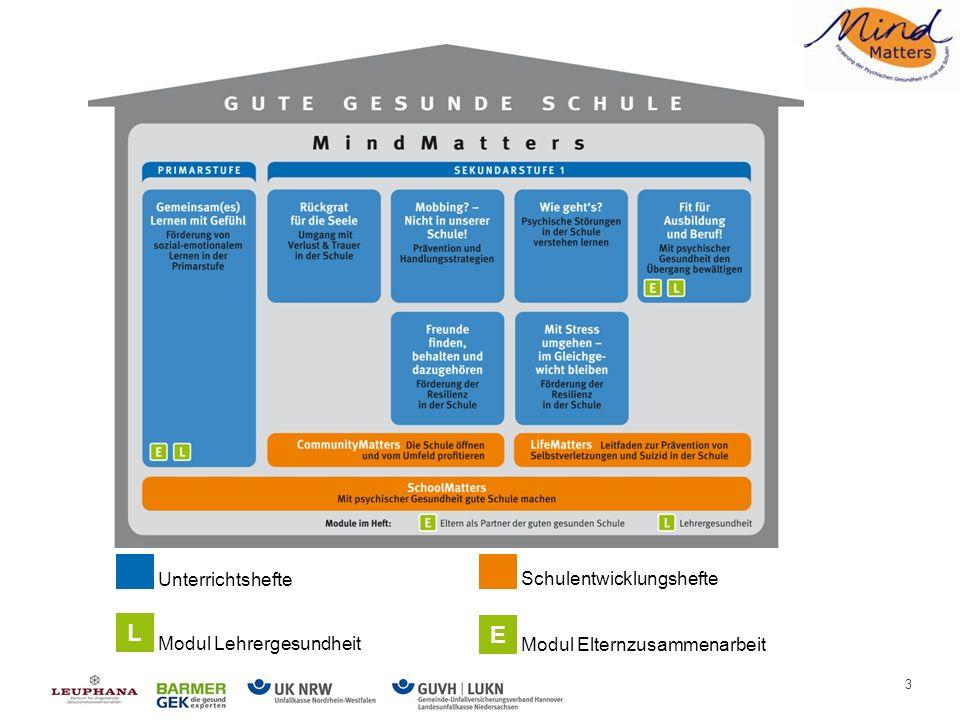 4 Ziele von MindMatters Förderung psychischer Gesundheit: Entwicklung einer Schulkultur, mit der sich alle Schulmitglieder sicher, wertgeschätzt, eingebunden und nützlich fühlen Mehr Respekt und Toleranz im Unterricht (Verschiedenheit als Bereicherung) Verbesserung der Lernbedingungen und Gesundheit von Schülerinnen und Schülern durch die Stärkung von Widerstandskraft und Lebenskompetenzen sowie durch das Erlernen eines hilfreichen Umgangs mit Stress und schwierigen Situationen Aufbau von Netzwerken und Partnerschaften Ausrichtung an den Qualitätsdimensionen - mit psychischer Gesundheit die Bildungsqualität der Schule entwickeln MindMatters – die Ziele