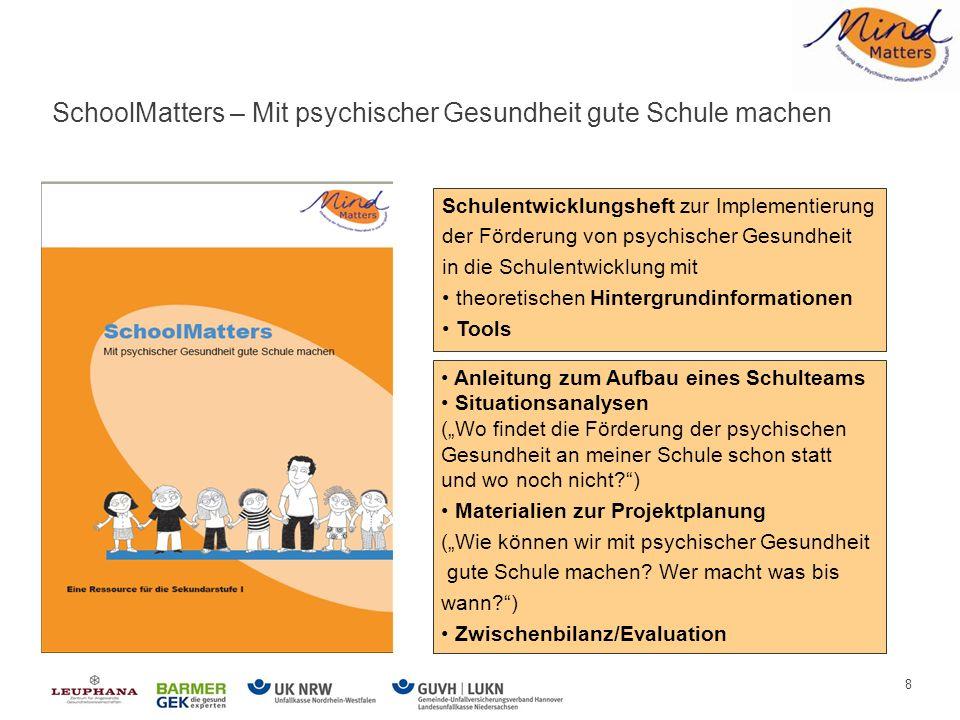 8 Anleitung zum Aufbau eines Schulteams Situationsanalysen (Wo findet die Förderung der psychischen Gesundheit an meiner Schule schon statt und wo noch nicht?) Materialien zur Projektplanung (Wie können wir mit psychischer Gesundheit gute Schule machen.
