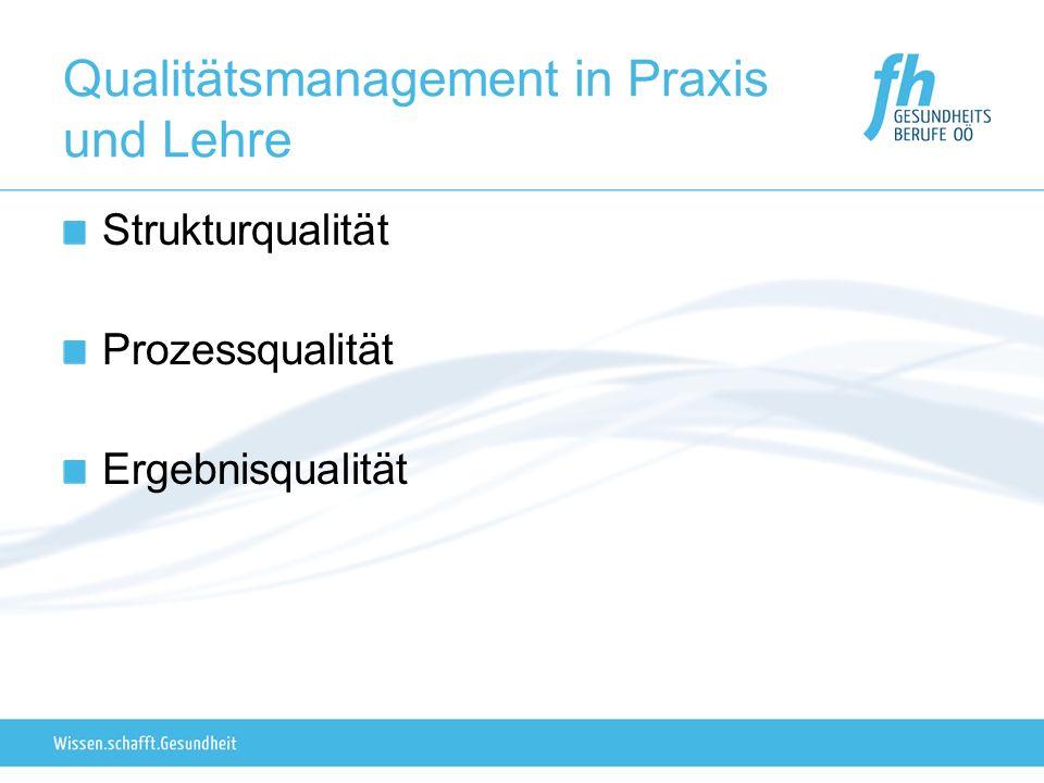 Qualitätsmanagement in Praxis und Lehre Strukturqualität Prozessqualität Ergebnisqualität