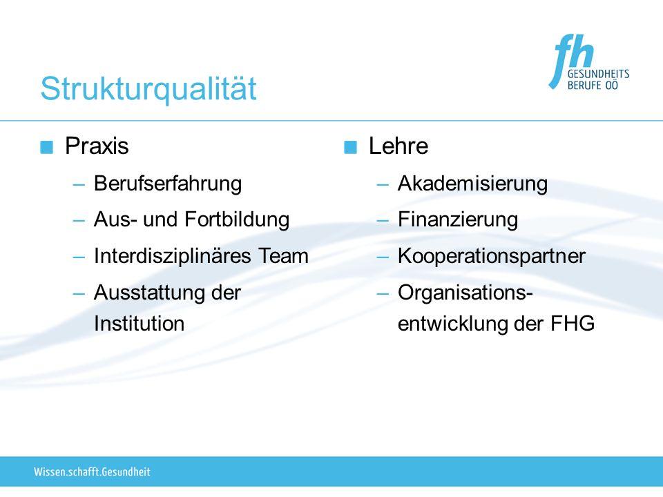 Strukturqualität Praxis –Berufserfahrung –Aus- und Fortbildung –Interdisziplinäres Team –Ausstattung der Institution Lehre –Akademisierung –Finanzierung –Kooperationspartner –Organisations- entwicklung der FHG