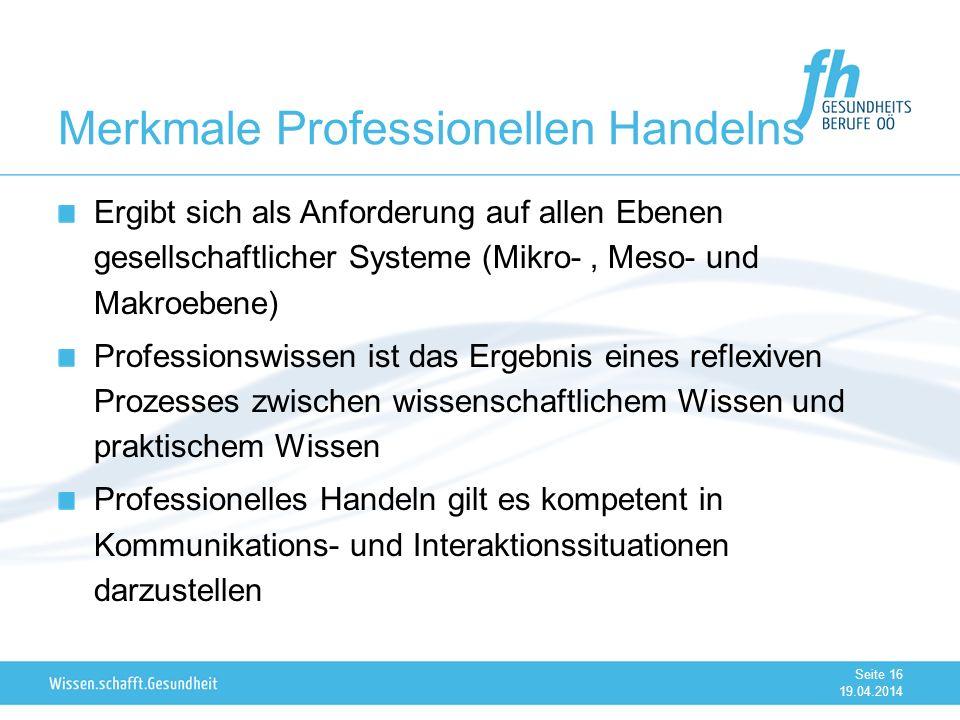 Merkmale Professionellen Handelns Ergibt sich als Anforderung auf allen Ebenen gesellschaftlicher Systeme (Mikro-, Meso- und Makroebene) Professionswi