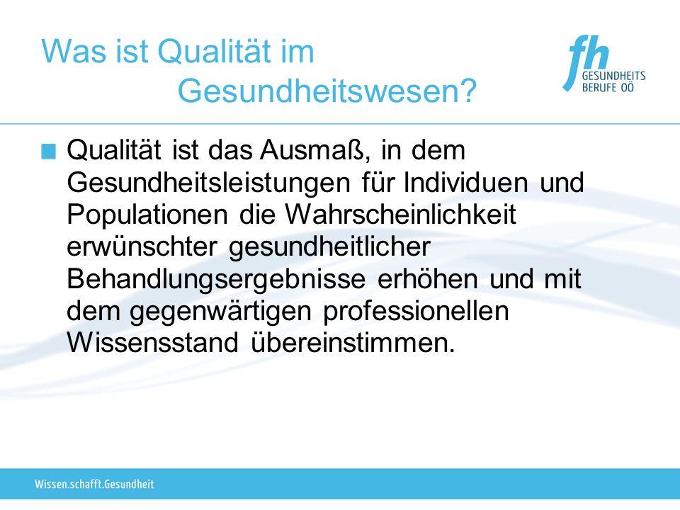 Was ist Qualität im Gesundheitswesen? Qualität ist das Ausmaß, in dem Gesundheitsleistungen für Individuen und Populationen die Wahrscheinlichkeit erw