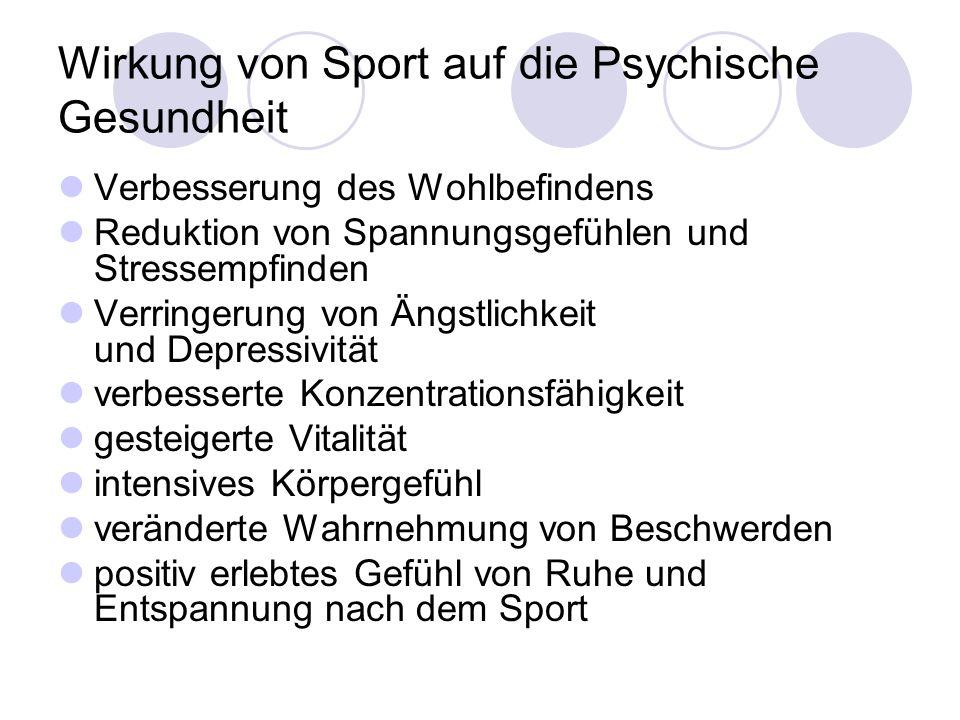 Wirkung von Sport auf die Psychische Gesundheit Verbesserung des Wohlbefindens Reduktion von Spannungsgefühlen und Stressempfinden Verringerung von Än