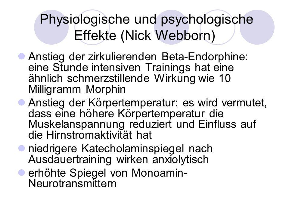 Physiologische und psychologische Effekte (Nick Webborn) Anstieg der zirkulierenden Beta-Endorphine: eine Stunde intensiven Trainings hat eine ähnlich