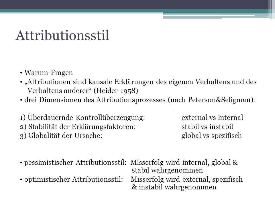 Attributionsstil Warum-Fragen Attributionen sind kausale Erklärungen des eigenen Verhaltens und des Verhaltens anderer (Heider 1958) drei Dimensionen