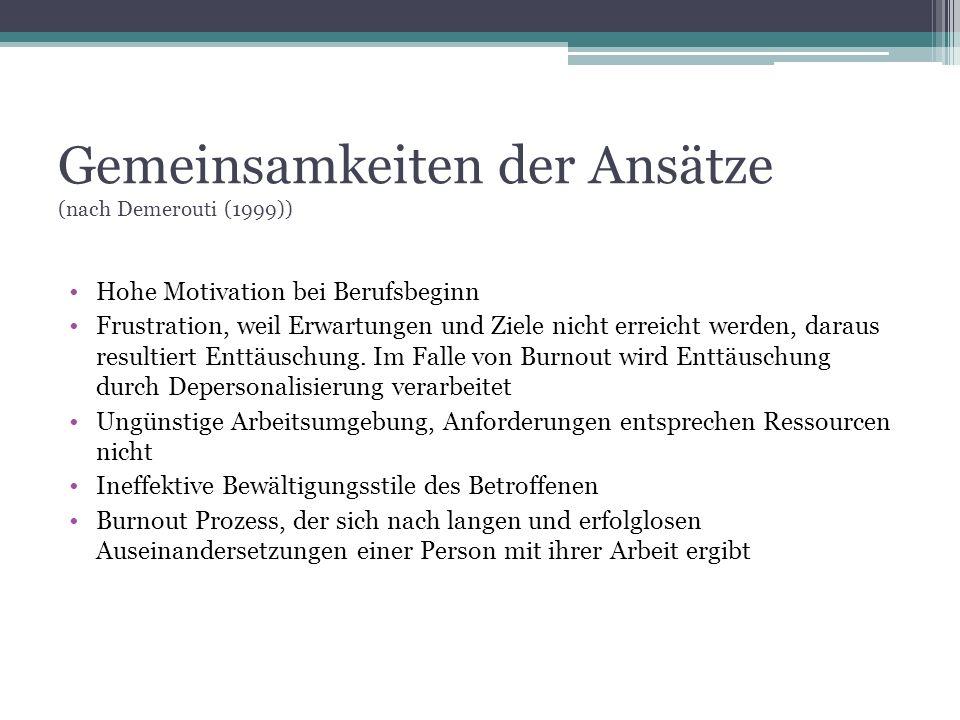 Gemeinsamkeiten der Ansätze (nach Demerouti (1999)) Hohe Motivation bei Berufsbeginn Frustration, weil Erwartungen und Ziele nicht erreicht werden, da
